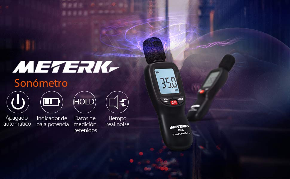 Medidor de decibelios Meterk 30-130dB (A)